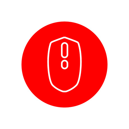 Computer Mouse Office Outline Red Vector Icon Illustration Graphic Design
