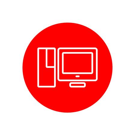 Desktop PC Computer Set Office Outline Red Vector Icon Illustration Graphic Design Illusztráció