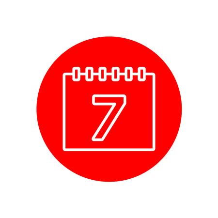 Calendar Date Number 7 Office Outline Red Vector Icon Illustration Graphic Design Illusztráció