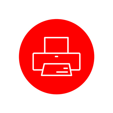 Printer Device Office Outline Red Vector Icon Illustration Graphic Design