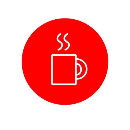 Hot Drink Mug Glass Office Outline Red Vector Icon Illustration Graphic Design Illusztráció
