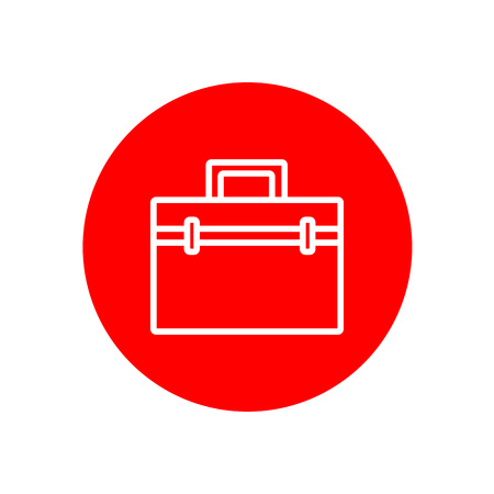 Simple Briefcase Office Outline Red Vector Icon Illustration Graphic Design