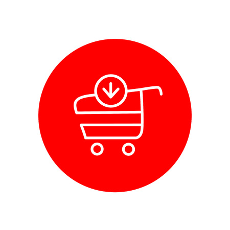 Add Item Shopping Cart Ecommerce Outline Red Circle Vector Icon Illustration Graphic Design Illusztráció