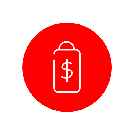 Price Tag Dollar Sign Ecommerce Outline Red Circle Vector Icon Illustration Graphic Design