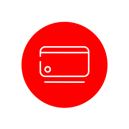 Credit Debit Card Outline Red Circle Vector Icon Illustration Graphic Design