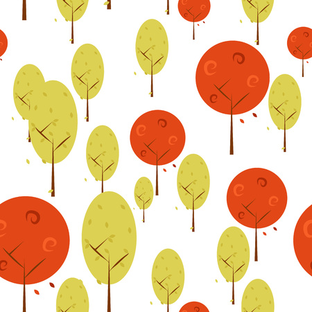 Autumn Trees Background Isolated Vector Illustration Graphic Design Template Banque d'images - 119507014