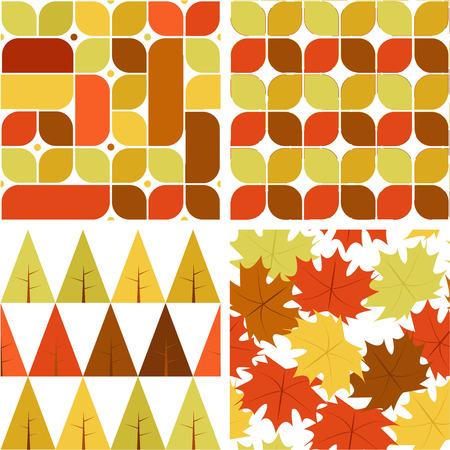 Autumn Pattern Set Symbol Background Vector Illustration Graphic Design Template