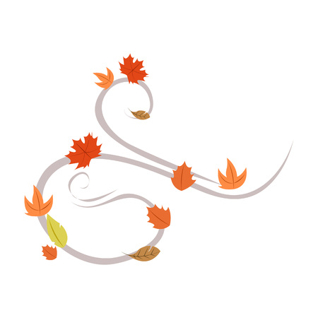 Autumn Wind Leaf Symbol Background Vector Illustration Graphic Design Template