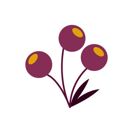 Purple Berry Fruit Plant Vector Symbol Illustration Graphic Design Template