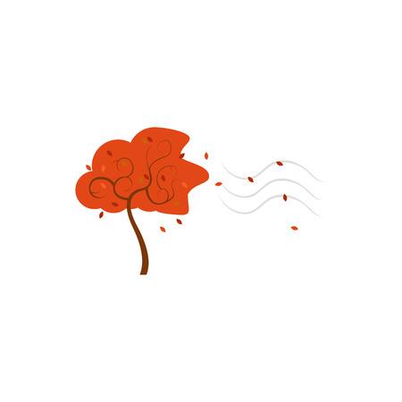 Tree Blowing Autumn Wind Vector Illustration Symbol Graphic Logo Design Template