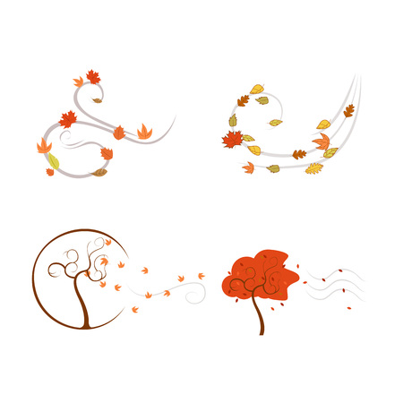 Autumn Wind Vector Illustration Symbol Graphic Design Template Banque d'images - 119507026