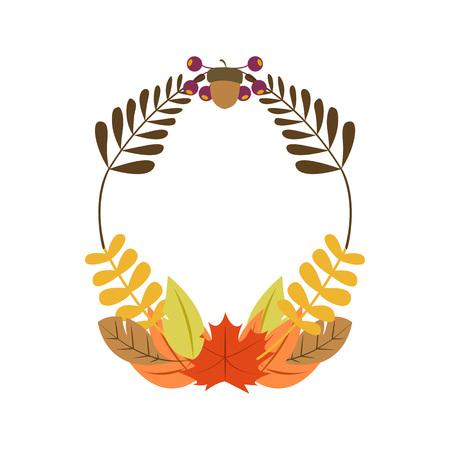 Autumn Wreath Vector Illustration Symbol Graphic Design Template
