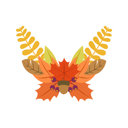 Autumn Fall Wreath Vector Illustration Symbol Graphic Design Template Banque d'images - 119507030