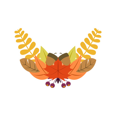Autumn Foliage Wreath Vector Illustration Symbol Graphic Design Template Banque d'images - 119507031