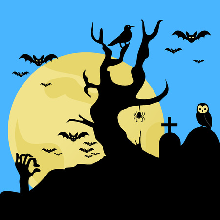 Scary Halloween Cemetery Background Vector Illustration Graphic Design Template Banque d'images - 124197951