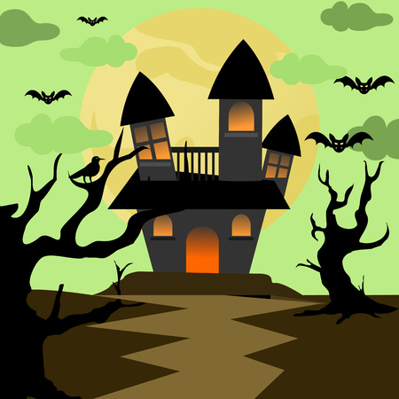 Scary Halloween House background Vector Illustration Graphic Design Template