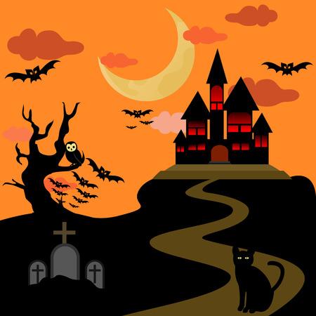 Halloween Castle Background Vector Illustration Graphic Design Template Banque d'images - 119813517