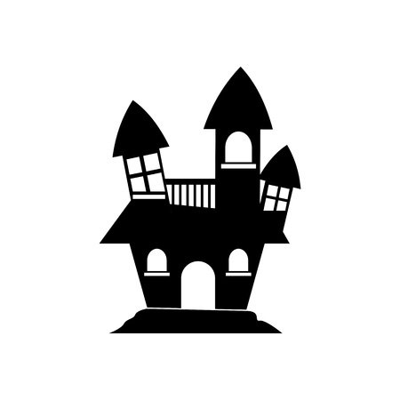 Halloween Haunted House Icon Vector Illustration Graphic Design Template