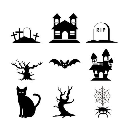 Halloween Silhouette Set Icon Vector Illustration Graphic Design Template