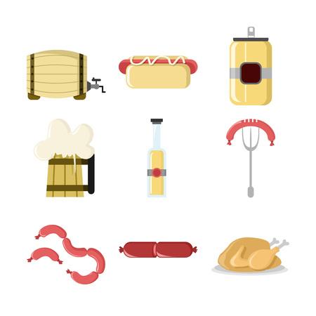 OctoberFest Set Vector Icon Illustration Graphic Design Template Illusztráció