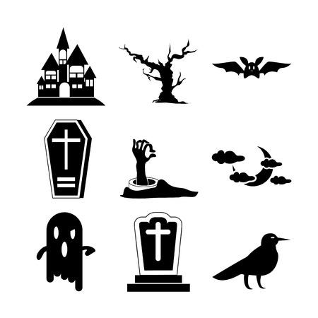 Halloween Set Icon Vector Illustration Graphic Design Template Illusztráció
