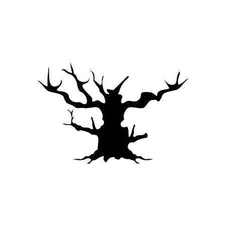 Halloween Tree Icon Vector Illustration Graphic Design Template Banque d'images - 119813528