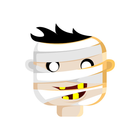Mummy Head Character Vector Illustration Graphic Design Template