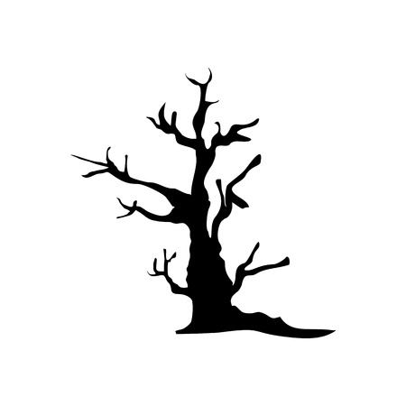 Halloween Spooky Tree Icon Vector Illustration Graphic Design Template