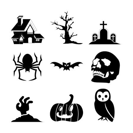 Halloween Set Icon Vector Illustration Graphic Design Template Banque d'images - 119813532