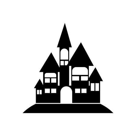Halloween Castle Icon Vector Illustration Graphic Design Template