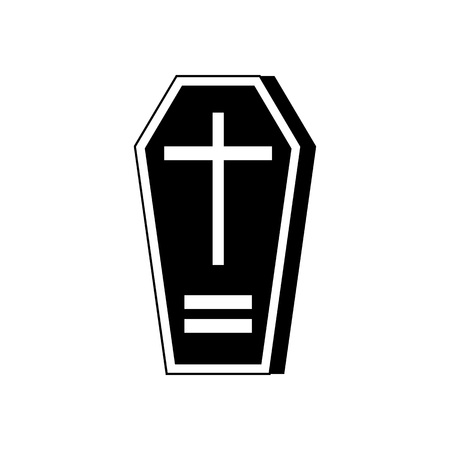 Halloween Coffin Icon Vector Illustration Graphic Design Template Banque d'images - 124197975