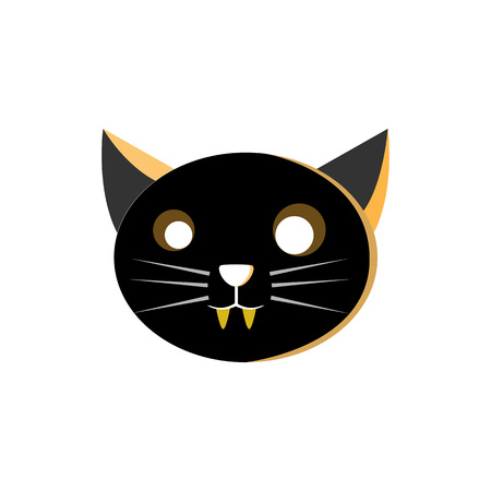 Cat Head Characters Illustration Design Vector Template Banque d'images - 124197976