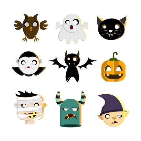 Halloween Characters Set Illustration Design Vector Template
