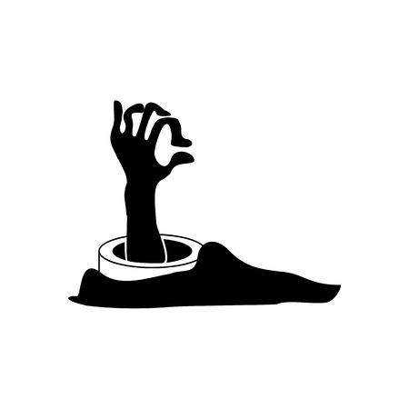 Halloween Scary Zombie Hand Icon Vector Illustration Graphic Design Template Banque d'images - 124197981