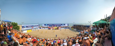 socker: Odessa, Ukraine, July 2010. Panorama of a beach socker arena at the All-Ukranian championship amoung an amateur teams in 2010 Editorial