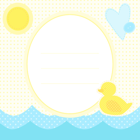 Cute greeting card with duckling on a water, sun and heart.