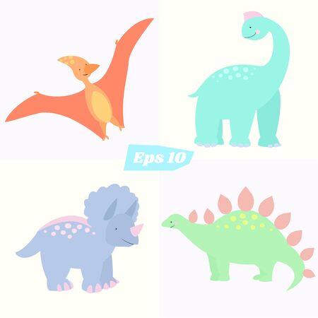 Cartoon style. Stegosaurus, triceratops pterodactyl and brachiosaurus Illustration