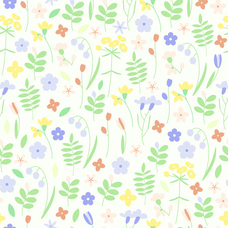 Cute meadow grass and flowers seamless vector background Illustration