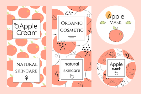 simple frame: Brochures in abstract and cartoon style. Package template for organic cosmetics