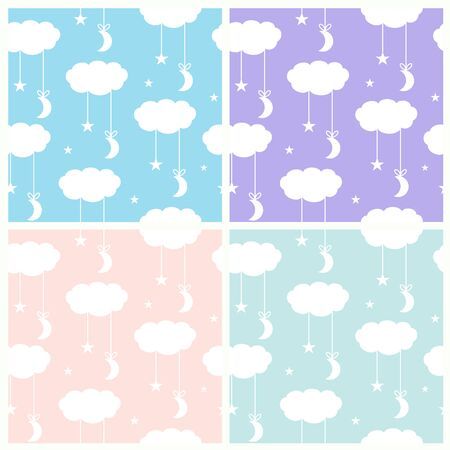 The stars and the moon are suspended on a cloud. White silhouettes on colored backgrounds Иллюстрация