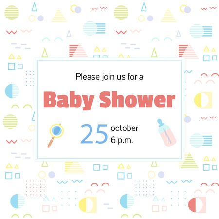 Baby shower invitation in neo Memphis style Illustration