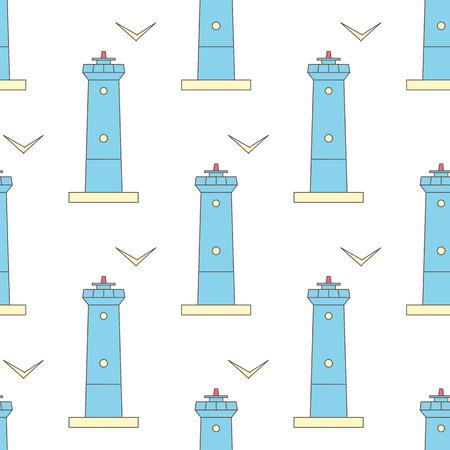 Leuchtturm und Möwe nahtlose Vektormuster Standard-Bild - 82748100