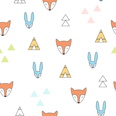 Tipi and geometric shapes on the background Illustration