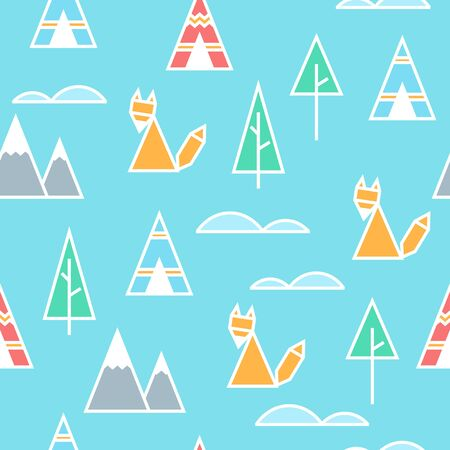 Fox in the forest seamless vector pattern