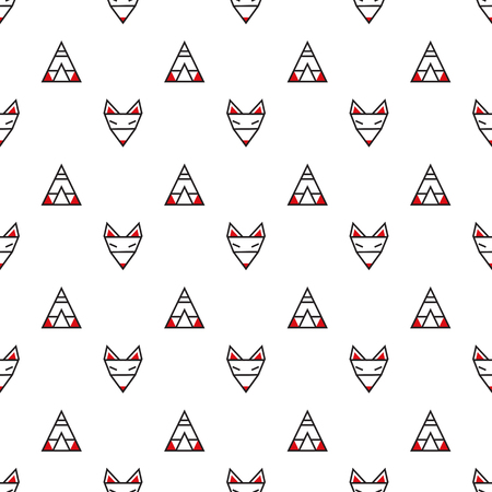 Minimalistic geometric seamless vector pattern with foxes and wigwams