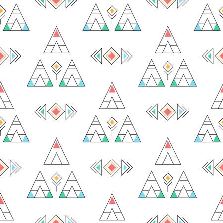 Wigwams camp seamless vector pattern