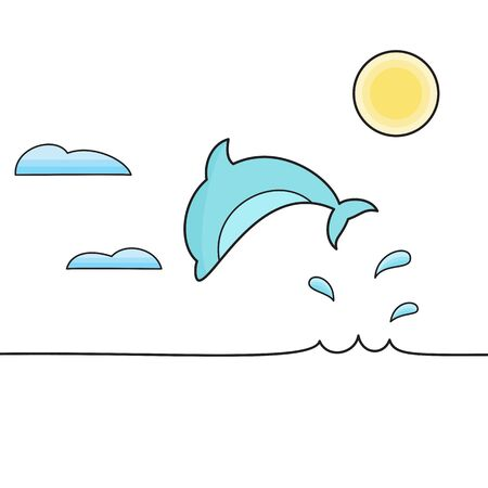 gray whale: Dolphin jumping out of the water isolated vector illustration.