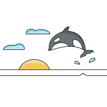 Killer whale jumping out of the water isolated vector illustration.