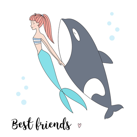 gray whale: Mermaid and killer whale isolated illustration. Illustration