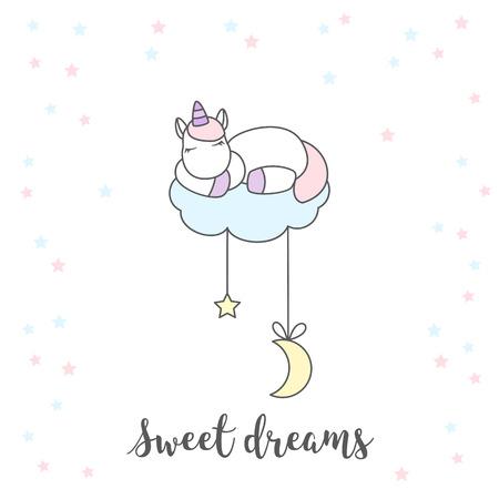 Unicorn sleeping on cloud isolated vector illustration